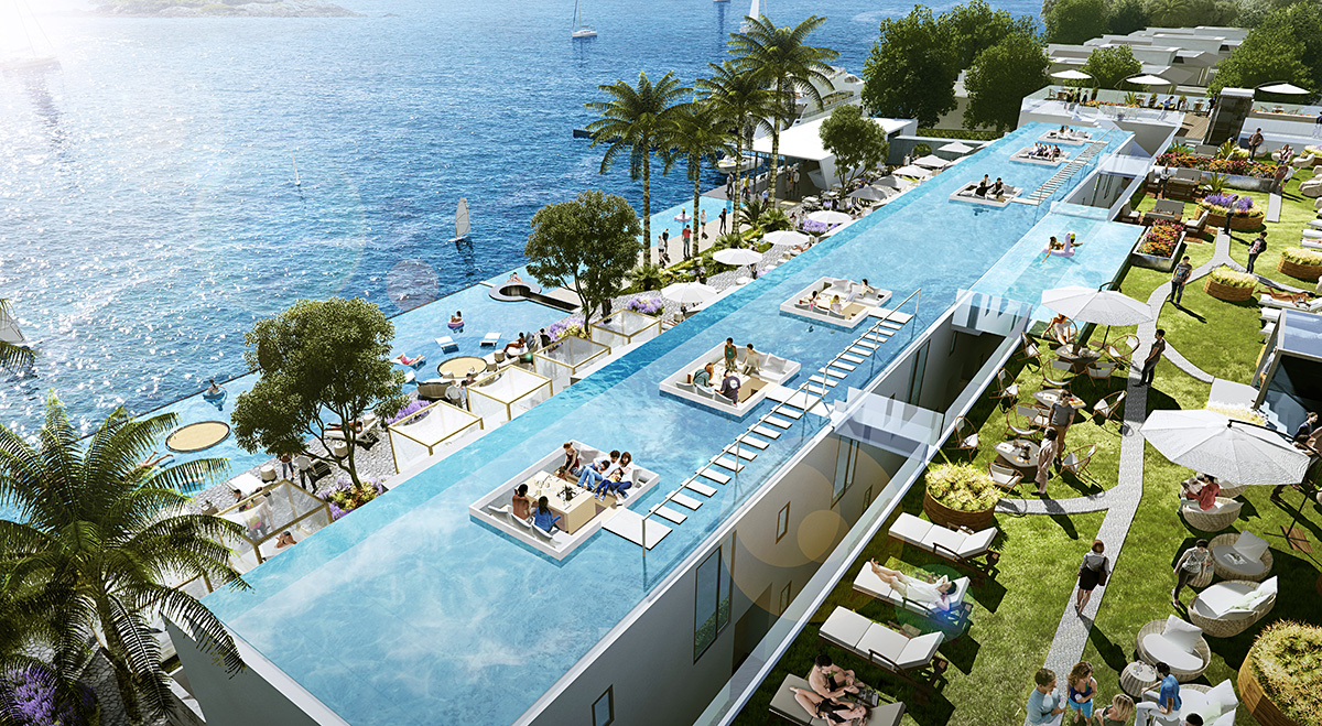 The luxury yacht club resort a very rare zero -distance seafront resort on the southeast coast of Phuket.
